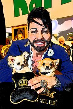 Harald Glöckler met honden van Tom River Art