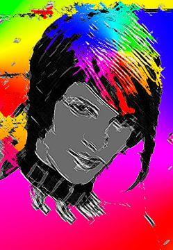 Vrouw met regenboog kleuren in haar kapsel-Woman with Rainbow colors in her hair style-Femme aux cou von aldino marsella