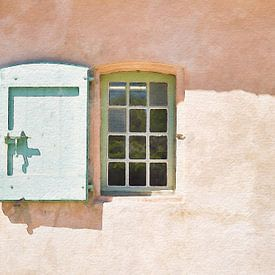 Sunny day at the Cote D'Azur, Cannes, Window with green blind of an old house on Lérins island Ile S von Dina Dankers