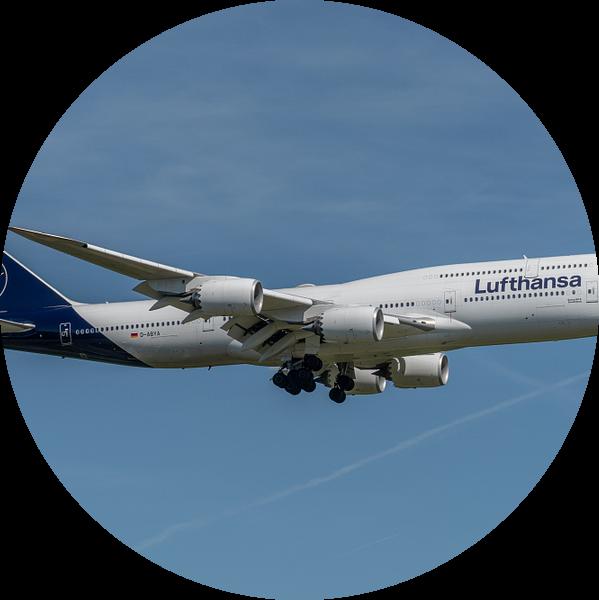 Boeing 747-8 van Lufthansa in haar nieuwe jasje, hier in de landing gefotografeerd bij de luchthaven van Jaap van den Berg
