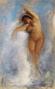 Weiblicher Akt im Schaum einer Welle, Wilhelm Trubner - Oceanide. 1872
