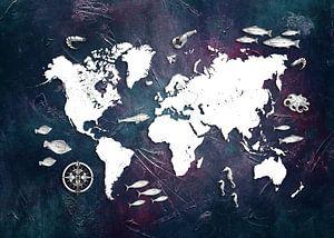 wereldkaart zeeleven #kaart van JBJart Justyna Jaszke