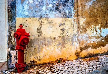 Oude muur met brandkraan van Fred Leeflang