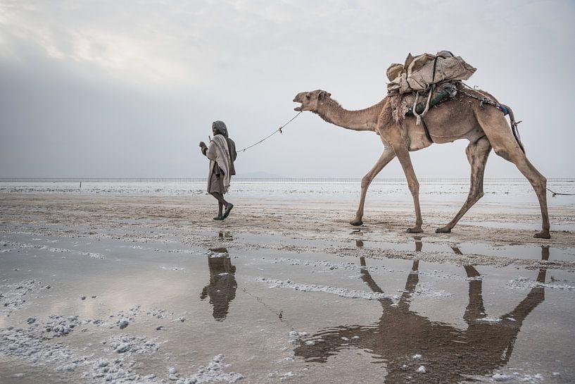 Kameel en man lopen door de woestijn | Ethiopië van Photolovers reisfotografie