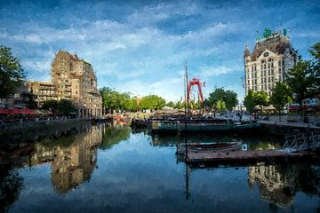 Oudenhaven in Rotterdam van Digitale Schilderijen