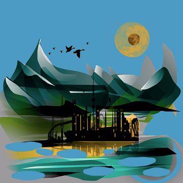 Olieplatform natuur van Raina Versluis