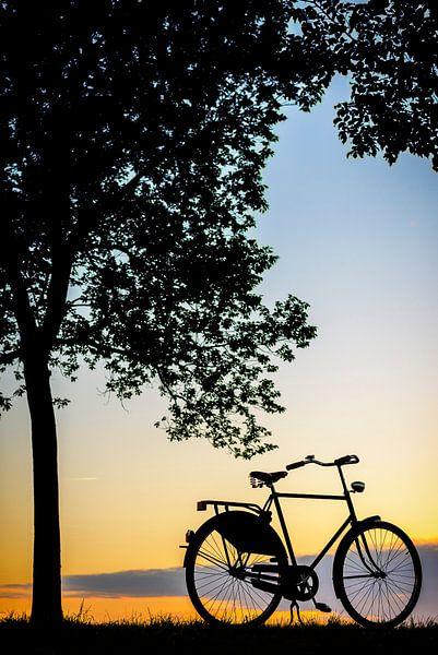 Fiets in de zonsondergang van Sjoerd van der Wal