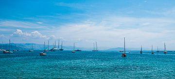 Boten bij Corfu Griekenland van