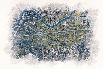 Karte von Tiergarten in Berlin von Aquarel Creative Design