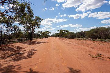 Rode zandweg in Australië van Bert van Emmerloot