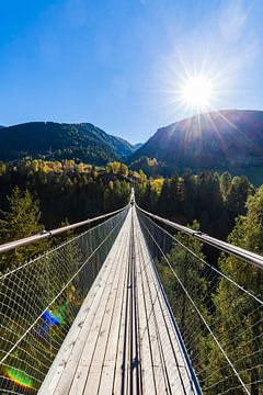 Hangbrug Goms Bridge in Zwitserland van Werner Dieterich