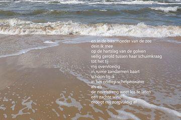 Golven van de zee met poëzie von Bargo Kunst
