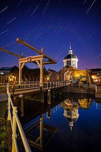 Morspoort in Leiden startrails van