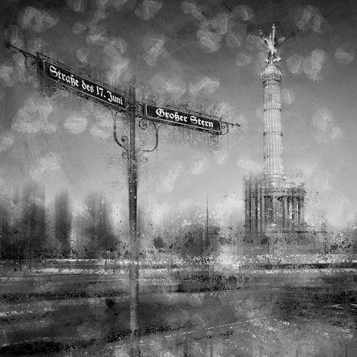 City-Art BERLIN Siegessäule schwarz-weiß