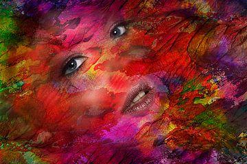 Lady face - abstract van Ursula Di Chito
