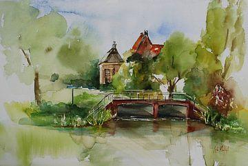 Aquarel Zicht op Middelburg von Joke Klootwijk