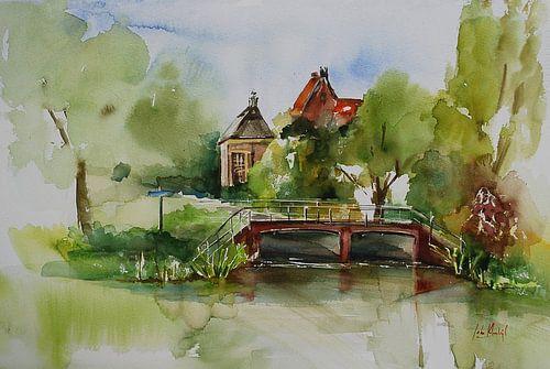 Aquarel Zicht op Middelburg van
