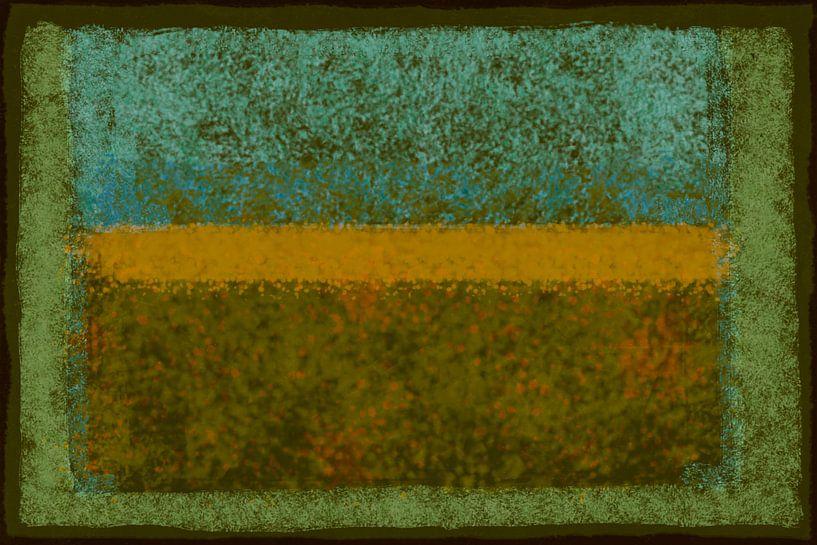 Abstract met groen en oker van Rietje Bulthuis