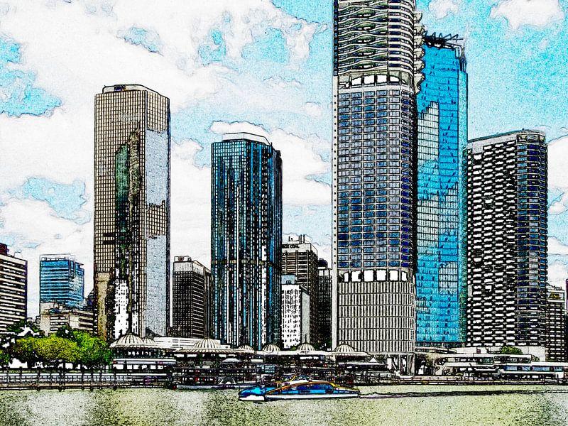 De skyline van Brisbane van Rietje Bulthuis