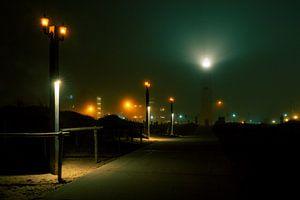 Vuurtoren van Noordwijk bij nacht van Yana Spiridonova