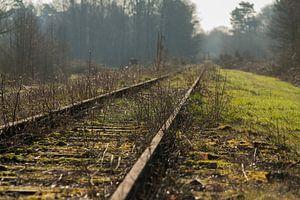 Oude spoorlijn Borkense Baan nabij de Duitse grens in de gemeente Winterswijk
