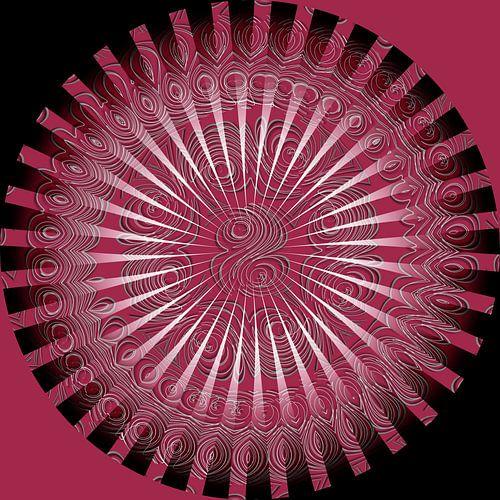 Mandala en rouge et noir sur Martine Affre Eisenlohr