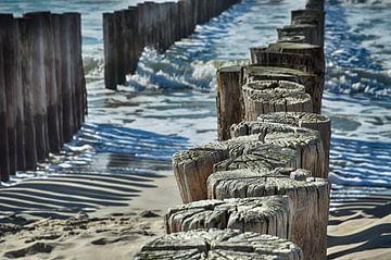 Paalhoofden bij Haamstede van Zeeland op Foto