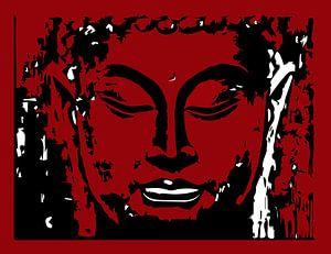 Buddha digitale Zeichnung rot und weiß