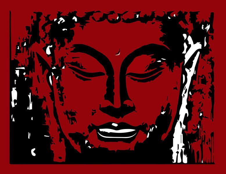Buddha digitale Zeichnung rot und weiß von sarp demirel