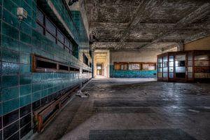Verlaten hall van een univerisiteits school. van