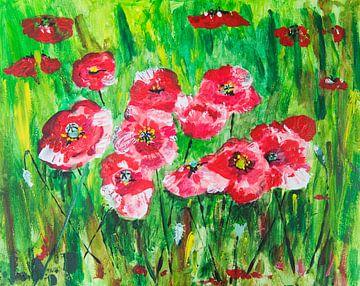Schilderij veld klaprozen van Ivonne Wierink