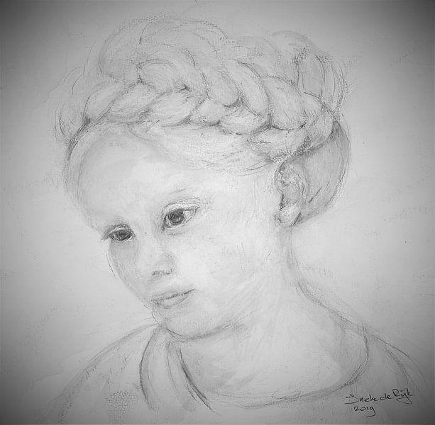 Meisje met vlechten. van Ineke de Rijk