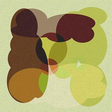 Abstract in bruin terracotta groen tinten van Maurice Dawson