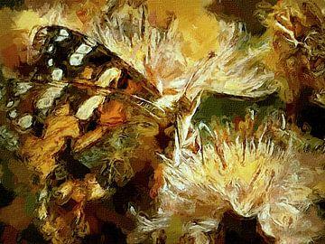 Vlinder landt op bloem van Rudy & Gisela Schlechter