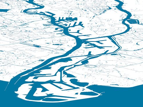 Havenkaart Rotterdam - blauwwit