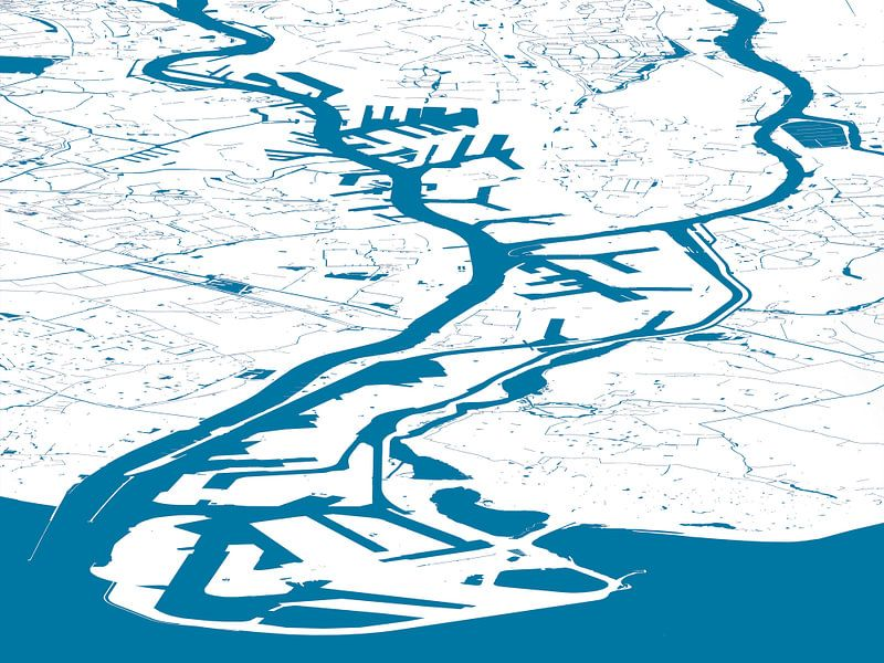 Havenkaart Rotterdam - blauwwit van Frans Blok