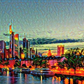 Warm schilderij Frankfurt: Skyline achter de Main van Slimme Kunst.nl