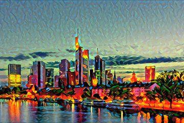 Warm schilderij Frankfurt: Skyline achter de Main