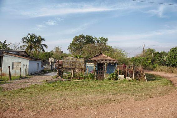 Oud blokhuis in een afgelegen Cubaans platteland en een natuurlijke omgeving