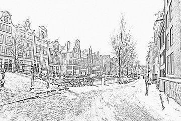 Pentekening van besneeuwd Amsterdam in de winter in Nederland von Nisangha Masselink