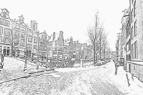 Pentekening van besneeuwd Amsterdam in de winter in Nederland van