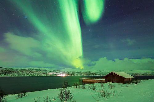 Noorderlicht boven een fjord