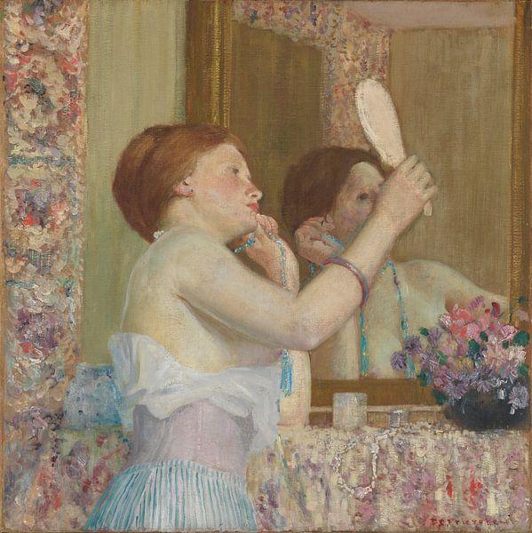 Frederick Carl Frieseke. Vrouw met spiegel, 1910 van 1000 Schilderijen
