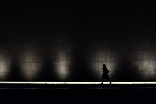 Vrouw voor het licht van