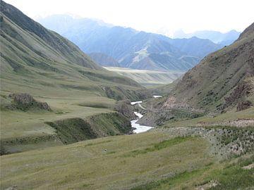 Bergweg door vallei in Kirgizië von Toon Loonen
