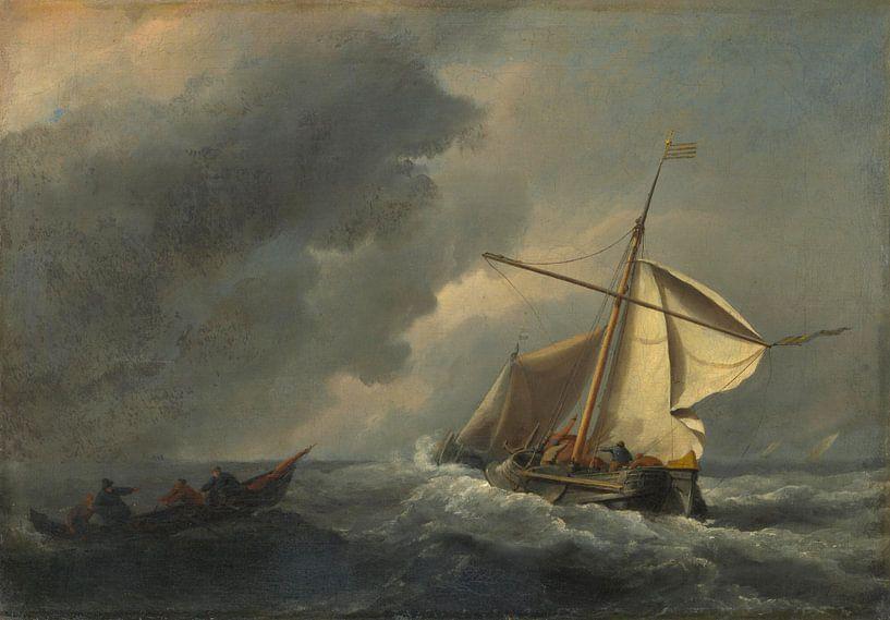 Een Nederlands schip in een sterke wind, Willem van de Velde van Meesterlijcke Meesters