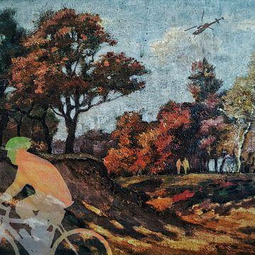 Wielrenner in het bos (schilderij 2.0)