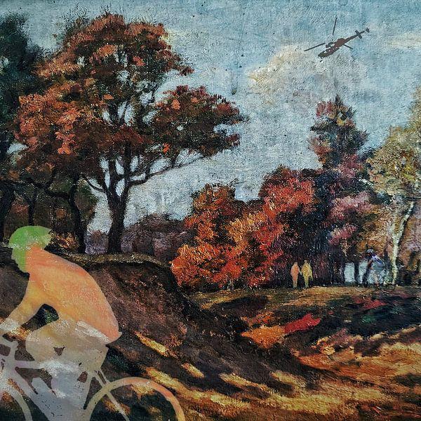 Wielrenner in het bos (schilderij 2.0) van Ruben van Gogh