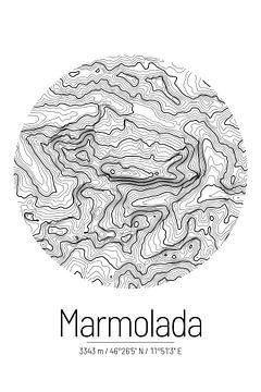 Marmolata | Kaarttopografie (Minimaal) van ViaMapia