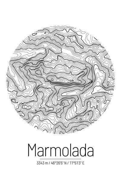 Marmolata | Topographie de la carte (minimum) sur ViaMapia